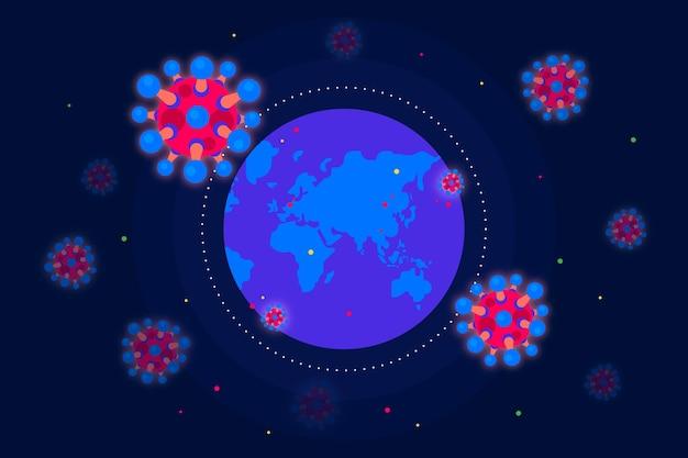 Illustration with coronavirus and globe
