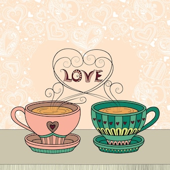 Illustration with a cup of aromatic tea or coffee