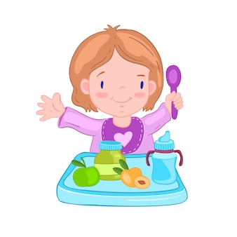 Illustration with cute baby girl in a bib with spoon near the table.
