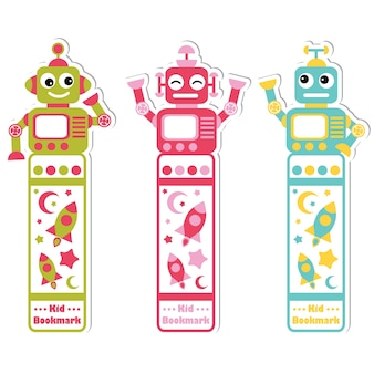 Illustration with cute colorful robots, rocket and stars suitable for kid bookmark label design, bookmark tag and sticker set
