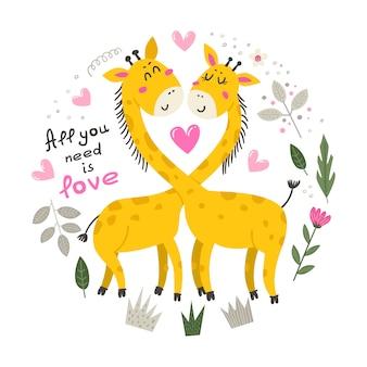 Иллюстрация с милый жираф.