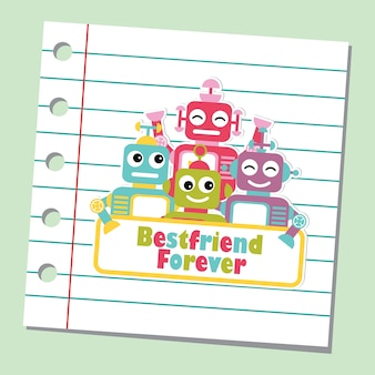 Illustration with cute robots on paper note background suitable for friendship card design, backdrop and wallpaper
