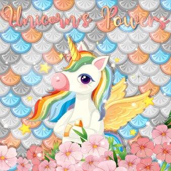 Illustrazione con unicorno carino su squame di pesce arcobaleno