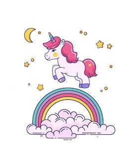 Illustration with cute unicorn and rainbow