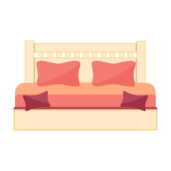 흰색 바탕에 더블 침대가 있는 그림입니다. 벡터 아이콘입니다.