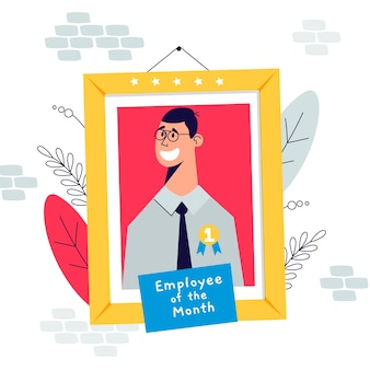 Illustration with employee of the month design