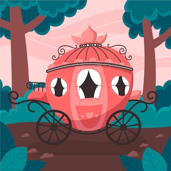 Illustration with fairytale carriage theme