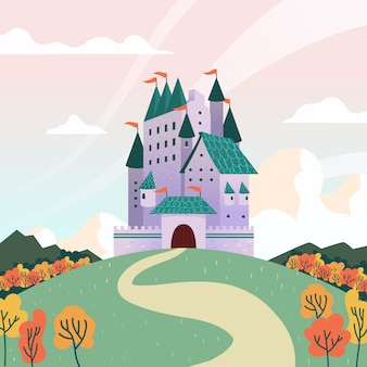 Illustration with fairytale castle concept