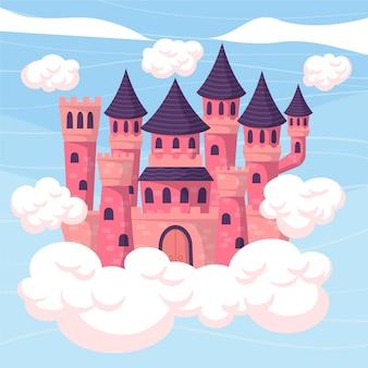 Иллюстрация с дизайном сказочного замка