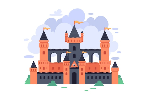 Illustration with fairytale castle