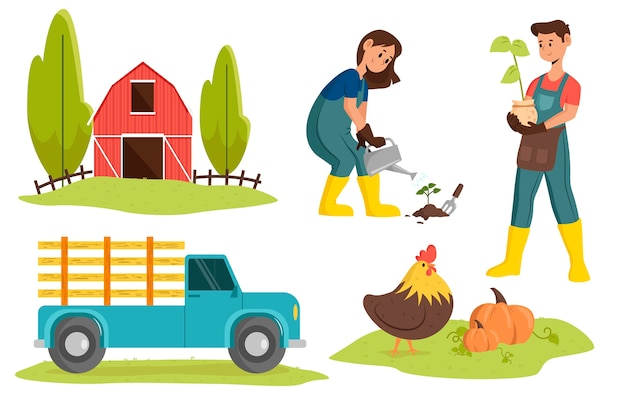 Illustration with farming design