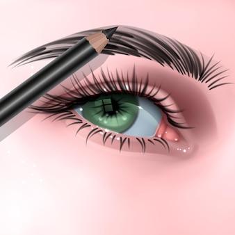 현실적인 스타일의 화장품 연필 메이크업 눈썹 연필로 메이크업을하는 여성 눈을 가진 그림