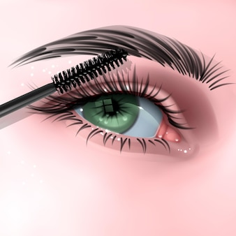 Illustration with female eye long eyelashes and mascara brush illustration in realistic style