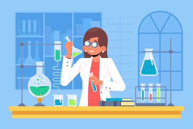 Illustration with female scientist concept