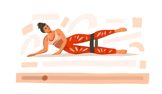 Illustration with female training at home with sports rubber elastics on video