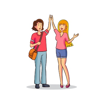 Illustration with females giving high five