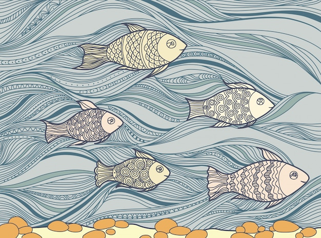 Illustration with floating fish in the sea