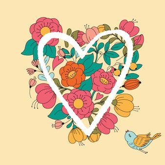 Illustration with flower heart.