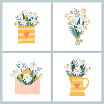 고립 된 간단한 만화 스타일의 꽃 그림