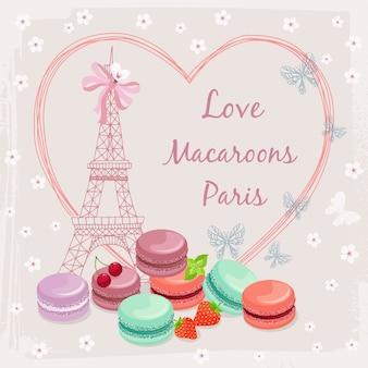 Иллюстрация с французскими тортами макарун и эйфелевой башней.