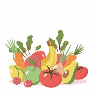 白い背景で隔離の新鮮な有機野菜や果物のイラスト。健康食品。ベジタリアン野菜や果物のセットです。健康的なライフスタイルやダイエットのコンセプト。