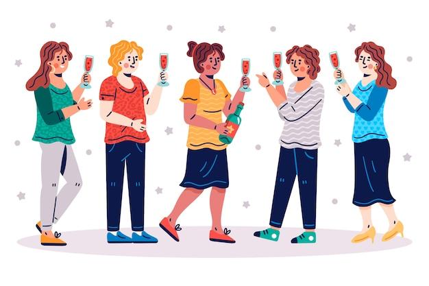Иллюстрация с друзьями поджаривания концепции
