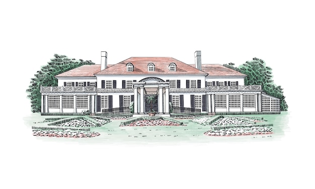 Illustration with georgian style mansion, country estate. historic building with hipped-roof colonial revival, with third-story dormers. in front of the house - beautiful formal gardens