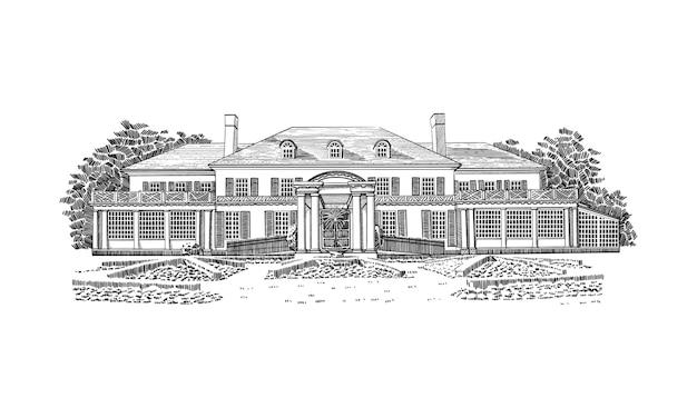Иллюстрация с особняком в георгианском стиле, усадьбой. историческое здание с шатровой крышей в стиле колониального возрождения с мансардными окнами на третьем этаже. перед домом - красивые формальные сады.