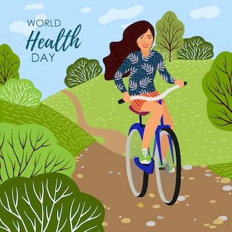 Illustration with girl on a bicycle and nature landscape