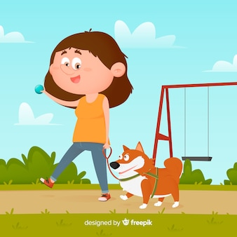 Illustration with girl and dog in the park