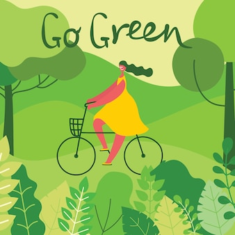 Illustration with girl riding bicycle on the nature, in the forest with green landscape veiw in the flat design and eco quote go green