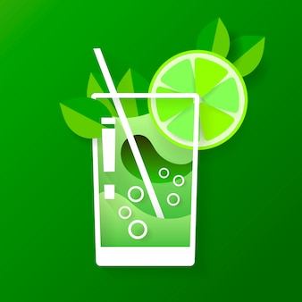Illustration with glass of mojito in flat design .