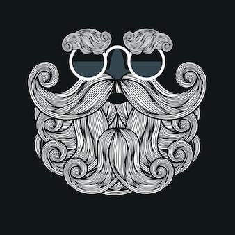 Иллюстрация с очками, бородой и усами санта-клауса