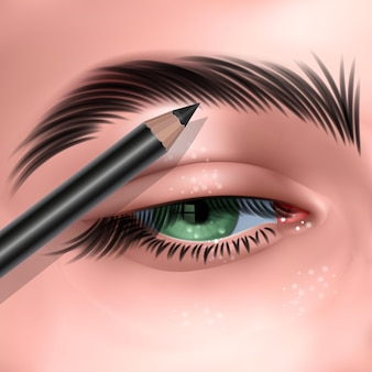 Illustration with green female eye and makeup eyebrow pencil in realistic style
