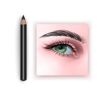 Illustration with green female eye and makeup eyebrow pencil