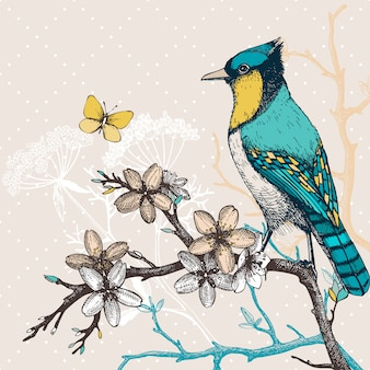 Illustration with hand draw bird on blooming tree twig. vintage sketch of green bird with butterfly and flowers.