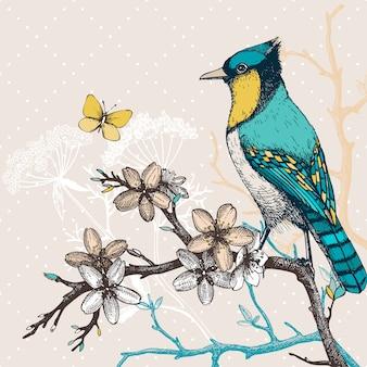 手でイラストは咲く木の小枝に鳥を描きます。蝶と花と緑の鳥のヴィンテージのスケッチ。