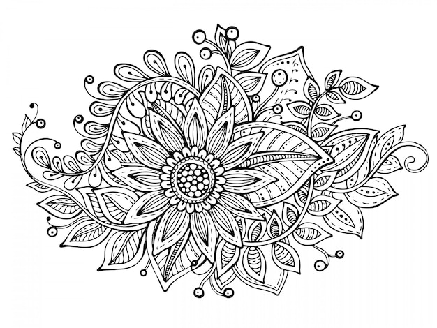 Illustration with hand drawn doodle fancy flowers bouquet