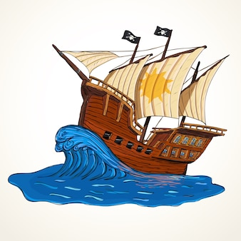 Illustration with hand drawn pirate ship on wave. summer adventures concept.