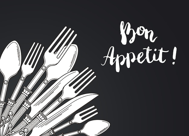 Illustration with hand drawn tableware on black gradient background with place for text