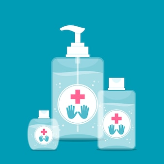 Illustration with hand sanitizer