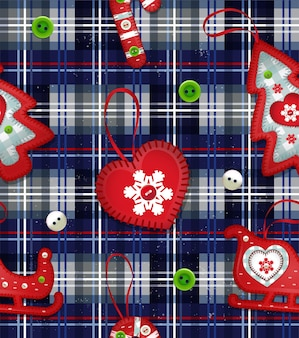 Illustration with handmade toys for christmas tree and colored buttons new year fabric or wrapping