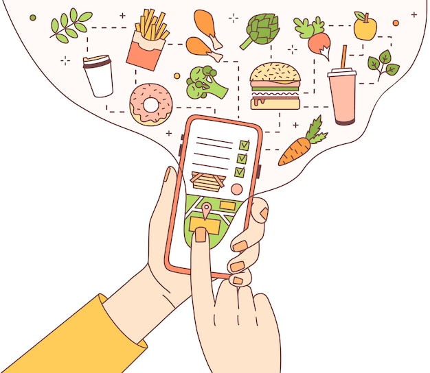 Illustration with hands holding phone with food delivery service mobile application