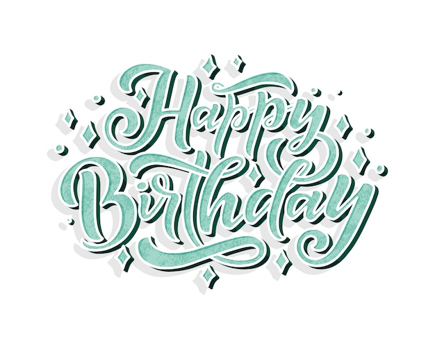Illustration with happy birthday lettering for decoration design