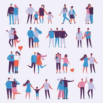 人の幸せな漫画のカップルのイラスト。幸せな友達、両親、恋人、デート、ハグ、ダンス、子供連れのカップル。明るい背景に分離された図