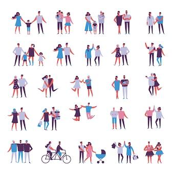 人々の幸せな漫画のカップルのイラスト。幸せな友達、両親、恋人、ハグ、ダンス、子供連れのカップル。図