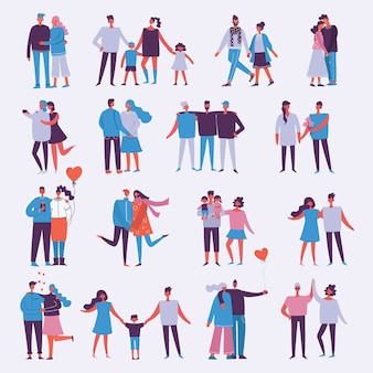 Illustration with happy cartoon couples of people. happy friends, parents, lovers on date, hugging, dancing, couples with kids. illustration isolated on light background