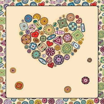 Illustration with heart of colorful buttons