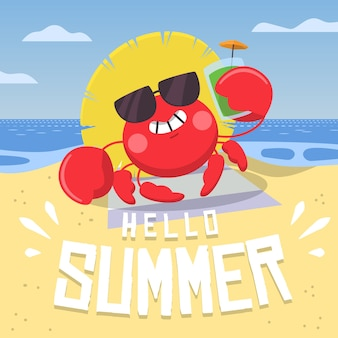 Illustration with hello summer lettering