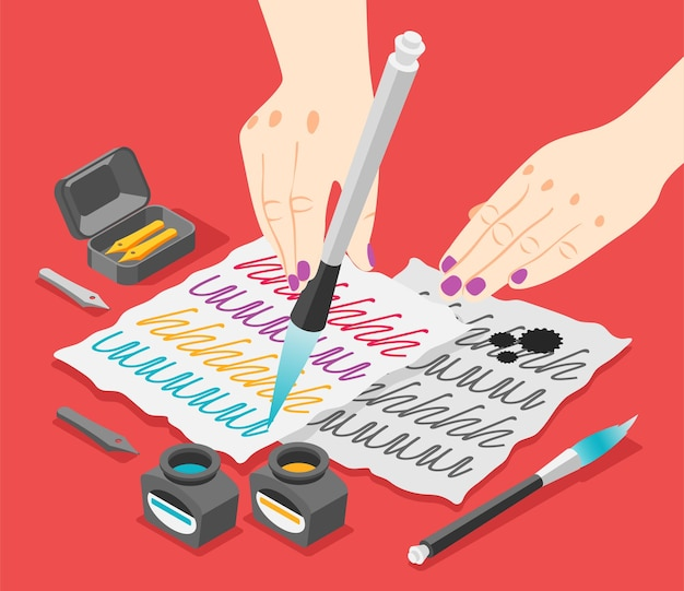 Illustration with human hands holding ink pen with pots and paper sheets illustration